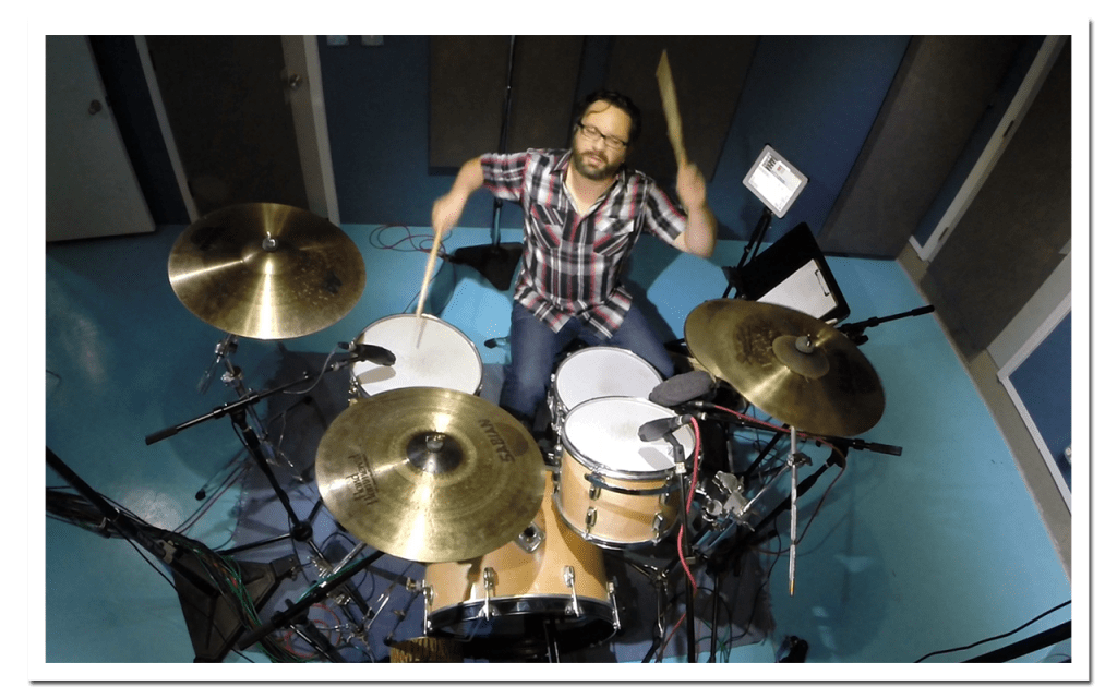 Chris Brush in an online drum session